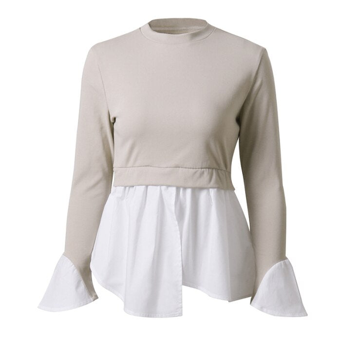 Long-sleeved Fake Two-piece shirt