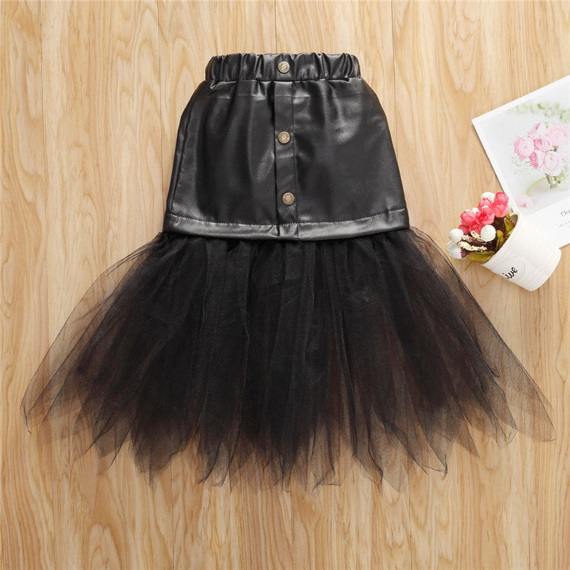 Children's PU Leather Skirt Summer