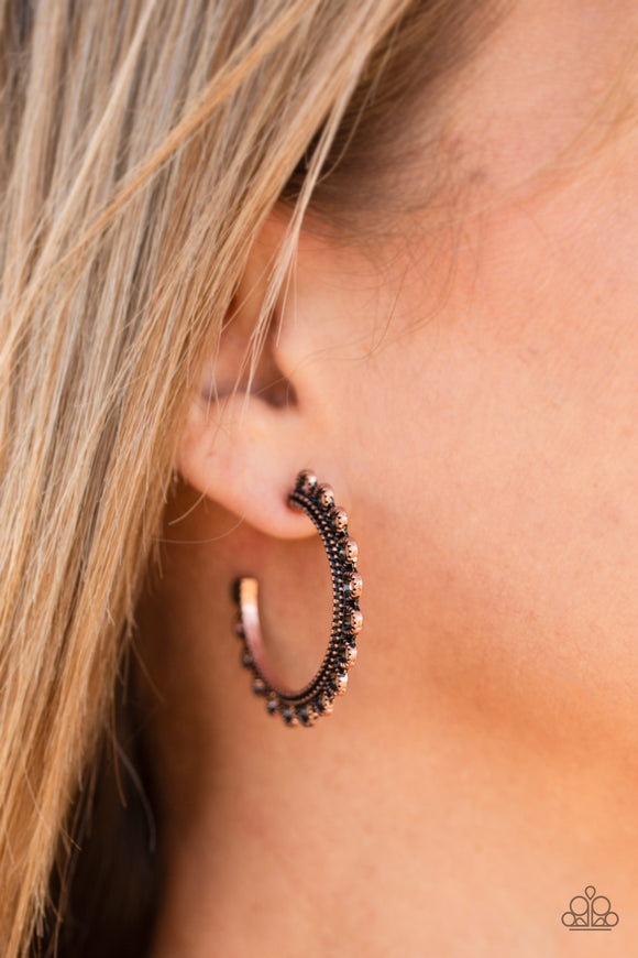 Paparazzi Bohemian Bliss-copper hoops