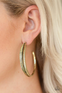 Paparazzi Funky Feathers-brass hoops