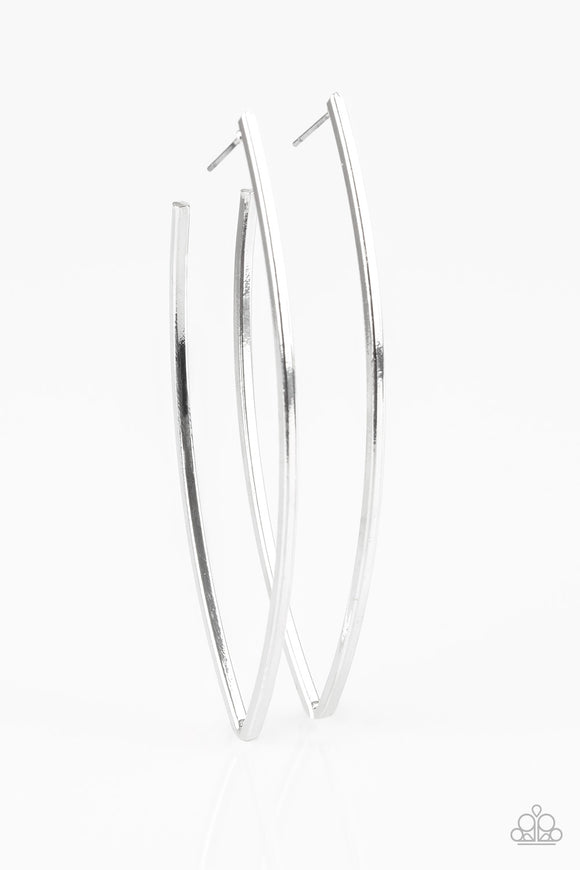 Paparazzi Nothing but trouble-silver hoops