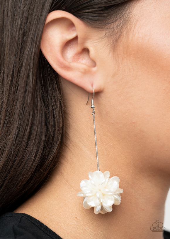 Paparazzi Swing Big-white Life of the Party Acrylic floral earrings
