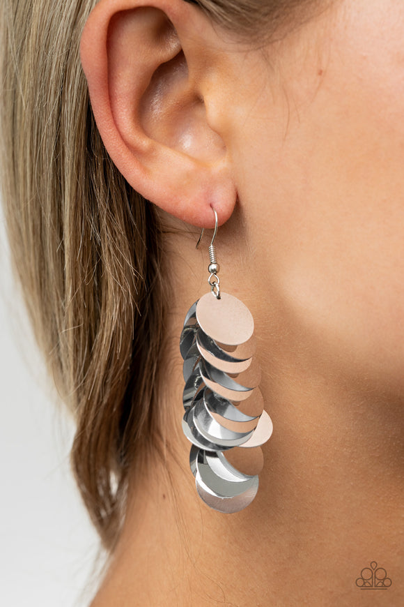 Paparazzi Now You SEQUIN It-silver Life of the Party EXCLUSIVE earrings