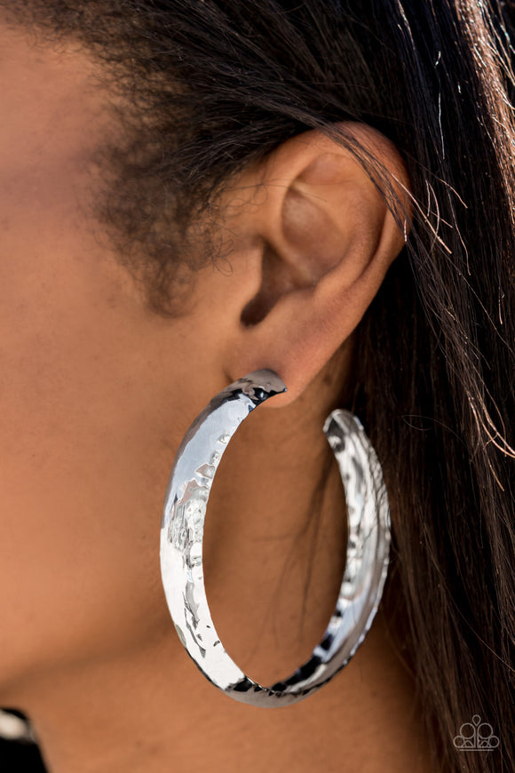 Paparazzi Check Out These Curves-silver hoops Convention Exclusive