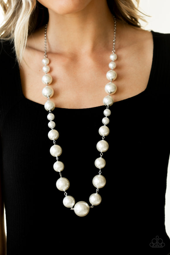 Paparazzi Pearl Prodigy-white Life of the Party EXCLUSIVE necklace