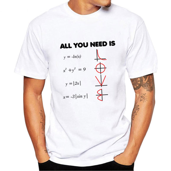 All You Need Is Love Math T Shirts Summer Fashion Graphic T Shirts Men's Short Sleeve O-Neck Casual Tee Tops Clothes