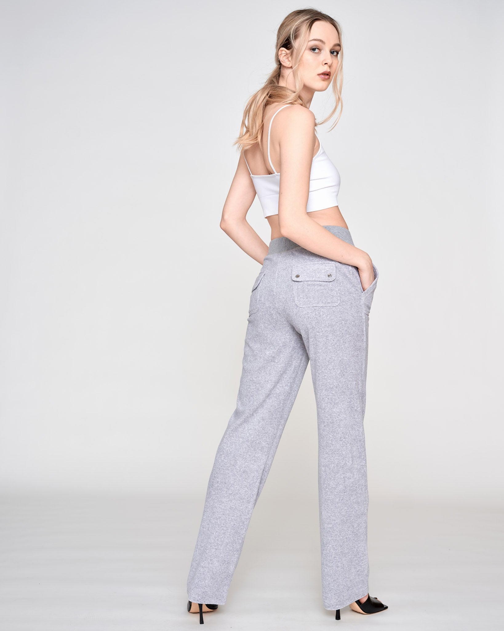 Del Ray Terry Towelling Pant Light Grey Marl - Juicy Couture Scandinavia