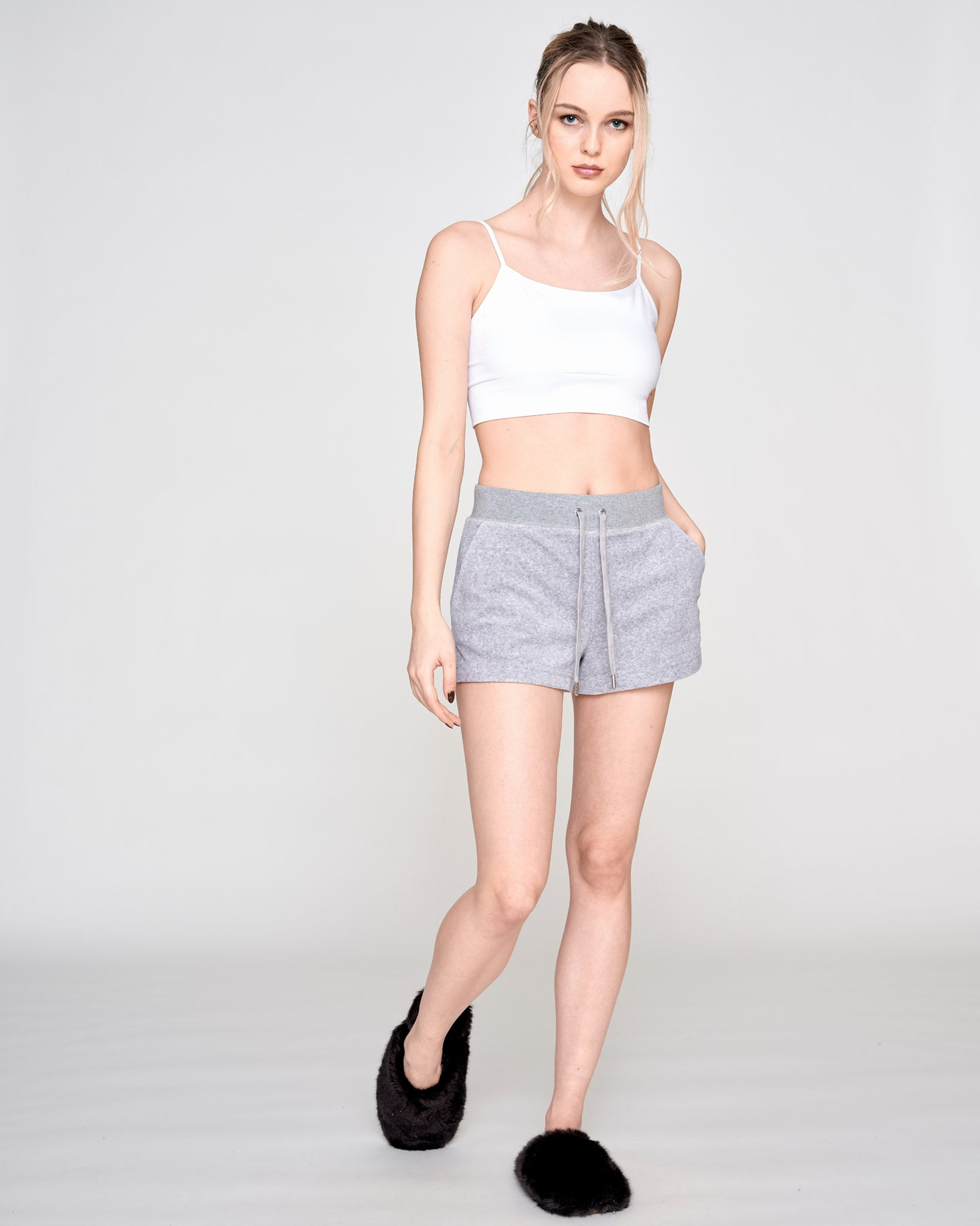 Eve Terry Towelling Shorts Light Grey Marl - Juicy Couture Scandinavia