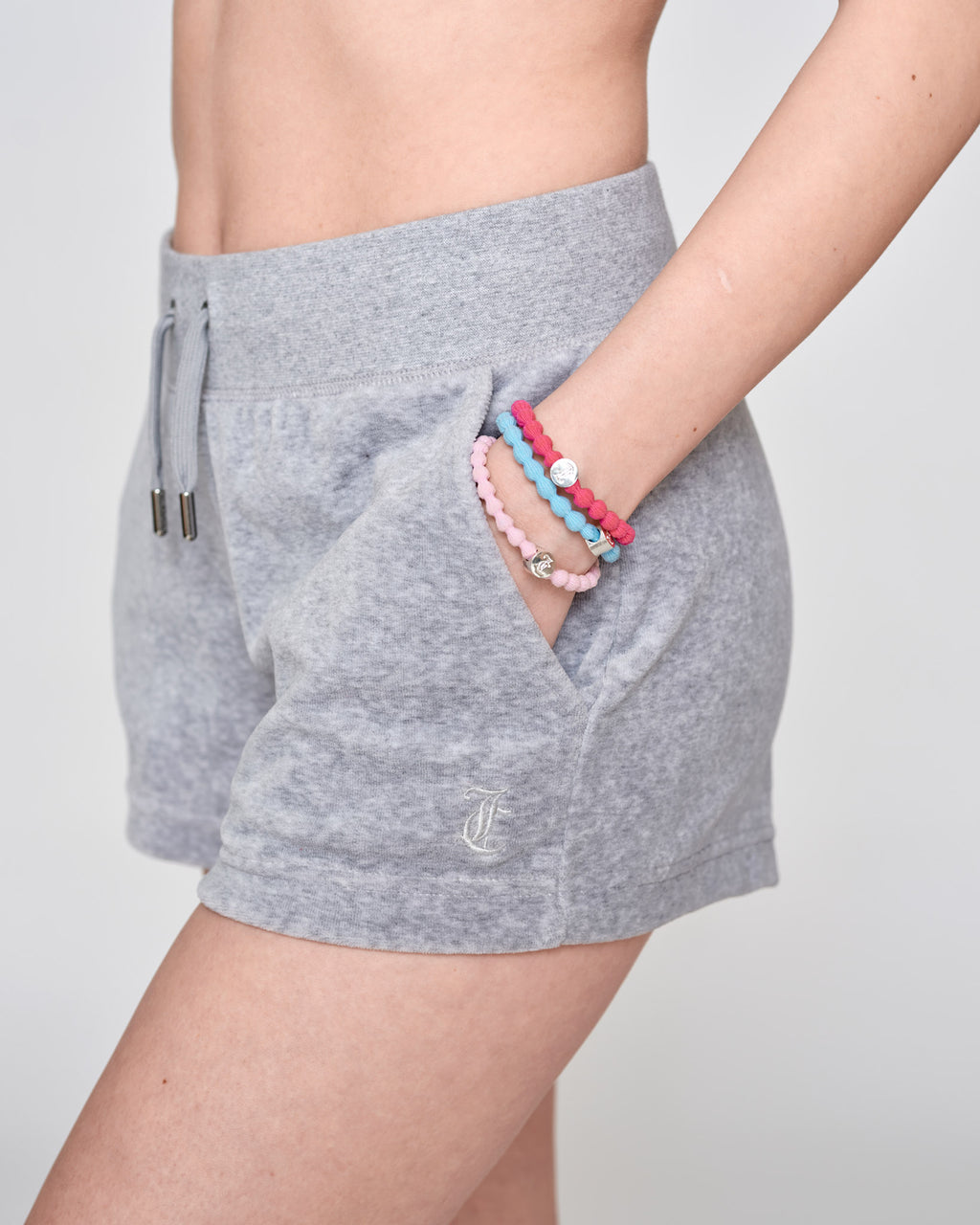 Eve Classic Velour Shorts Light Grey Marl - Juicy Couture Scandinavia
