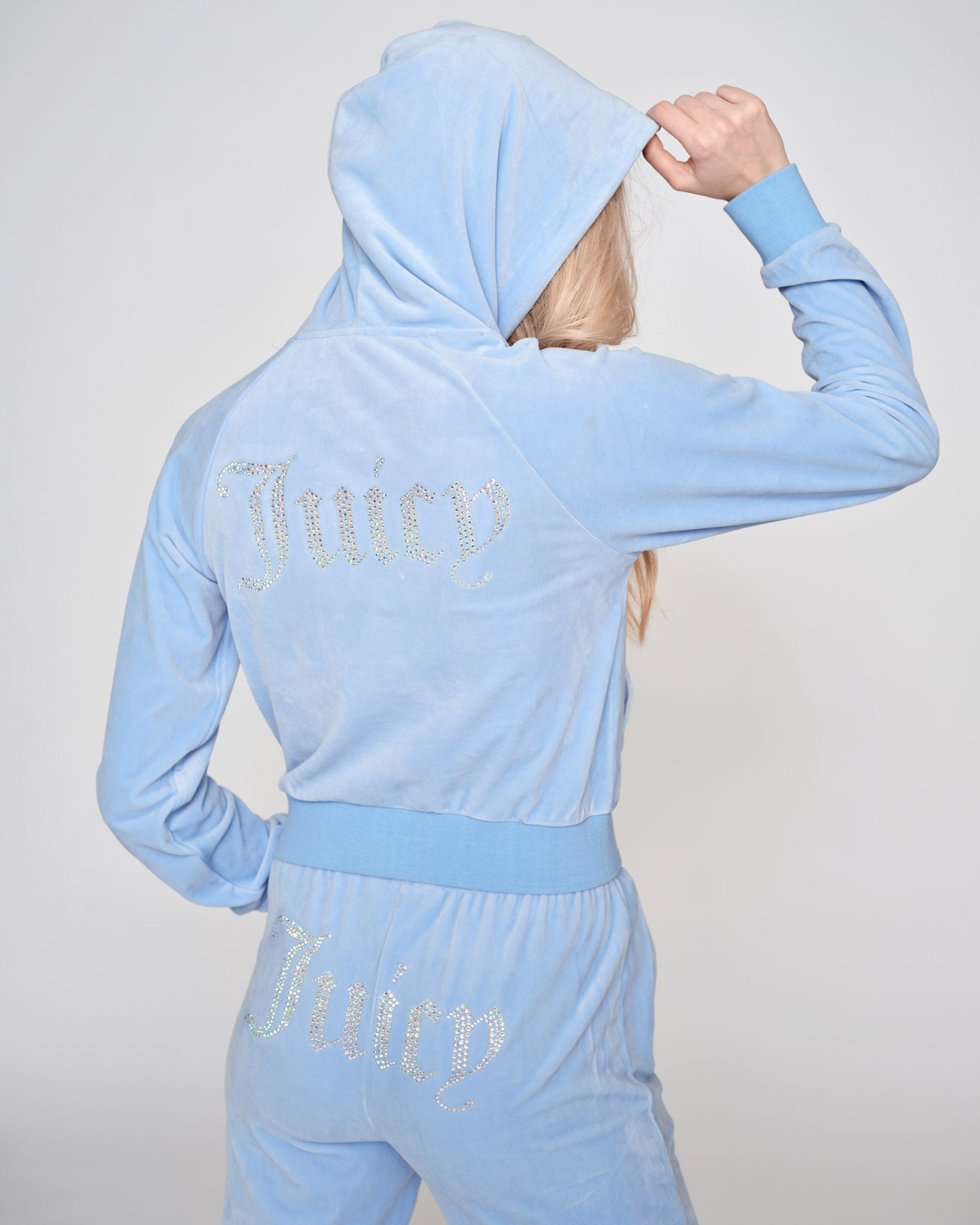 Sally Diamante Velour Hoodie Powder Blue - Juicy Couture Scandinavia