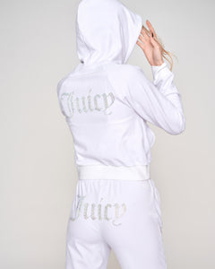 Sally Diamante Velour Hoodie White - Juicy Couture Scandinavia