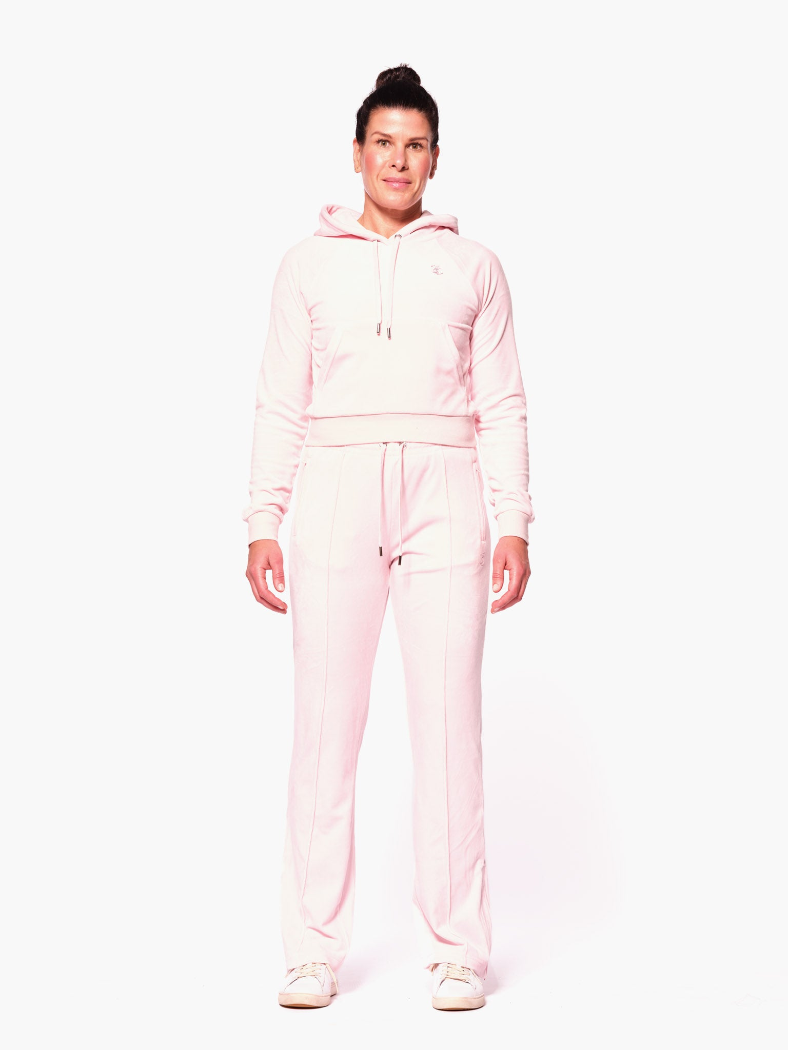 Sally Diamante Velour Hoodie Almond Blossom - Juicy Couture Scandinavia