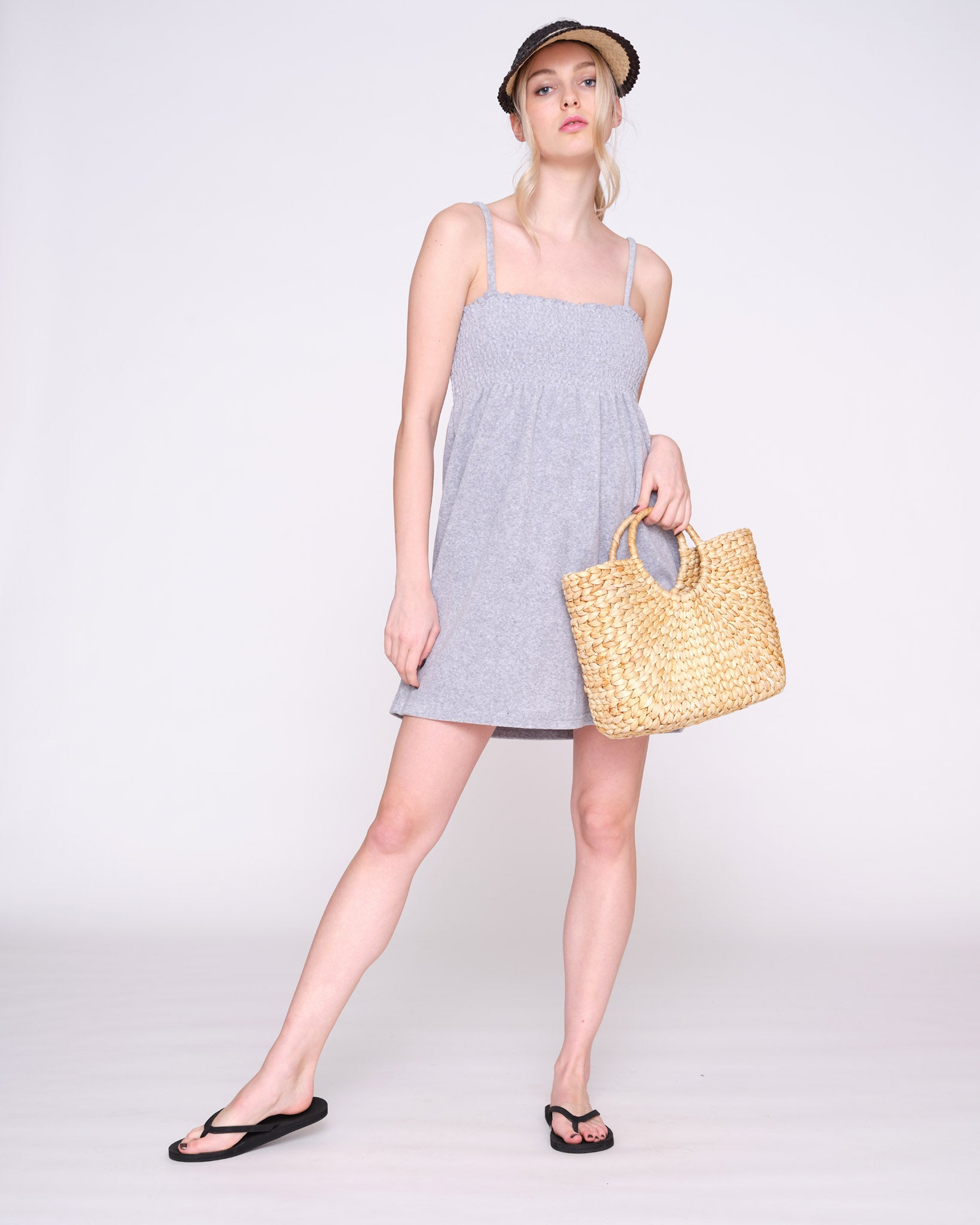 Smock Terry Towelling Dress Light Grey Marl - Juicy Couture Scandinavia