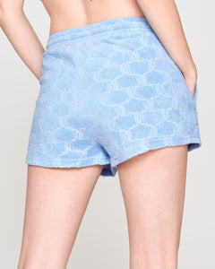 Suki Monogram Terry Towelling Shorts Powder Blue - Juicy Couture Scandinavia