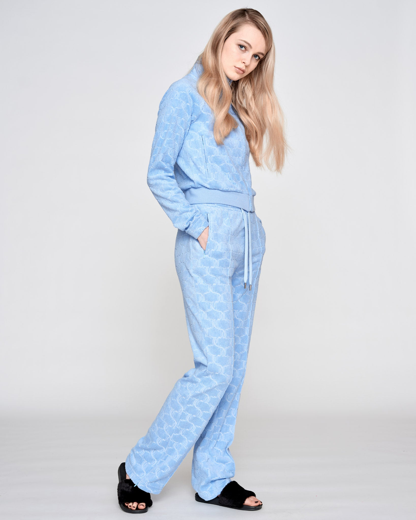 Tina Monogram Terry Towelling Pant Powder Blue - Juicy Couture Scandinavia