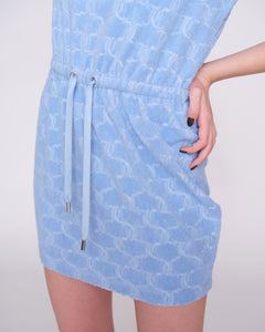 Tatum Monogram Dress Terry Towelling Powder Blue - Juicy Couture Scandinavia