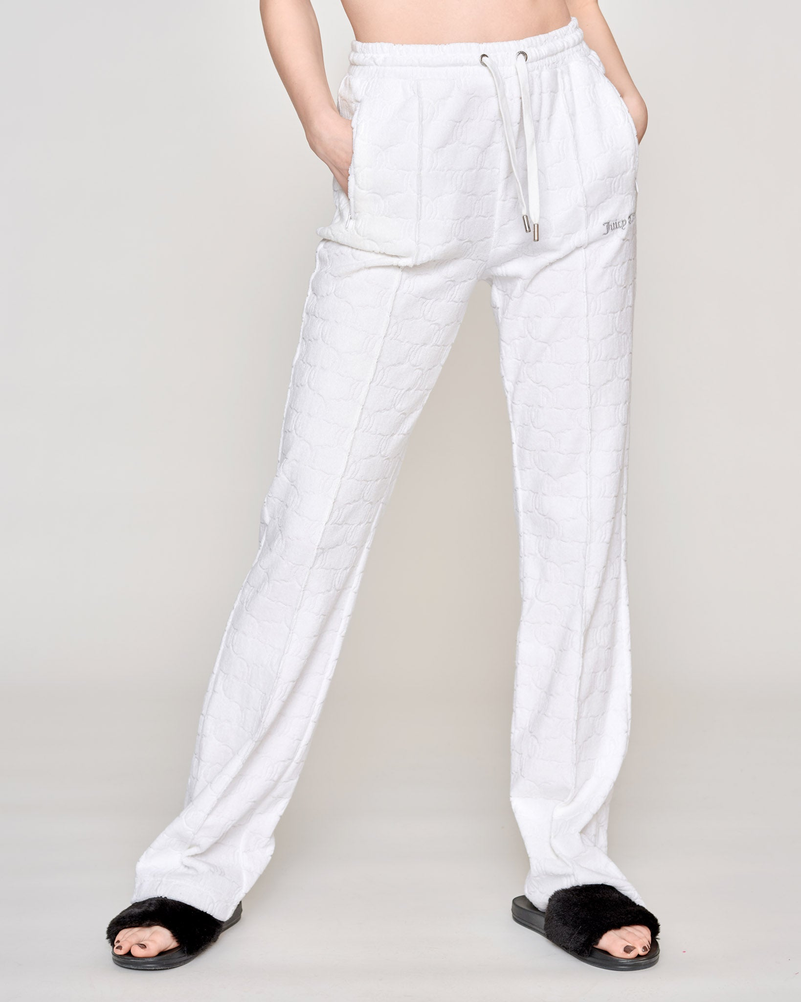Tina Monogram Terry Towelling Pant White - Juicy Couture Scandinavia