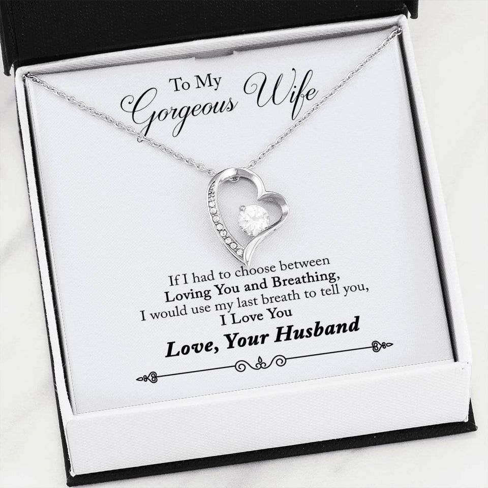 Last Breath - Husband Gift for Wife - Heart Necklace