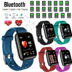 Full Touch Screen Smartwatch Waterproof Bluetooth Heart Rate Blood Pressure Monitor