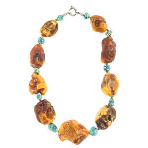 Eclectic Silver Baltic Amber Collar Necklace