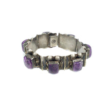 Load image into Gallery viewer, Vintage Plateria Farfan Sterling Mexican Amethyst Bracelet