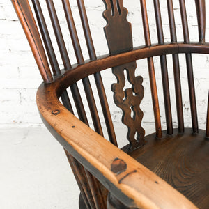 Antique Early American Yew Wood Accent Chair