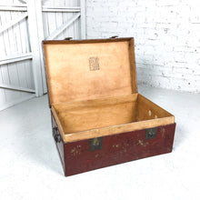 Load image into Gallery viewer, Antique Chinese Lacquered Leather Trunk