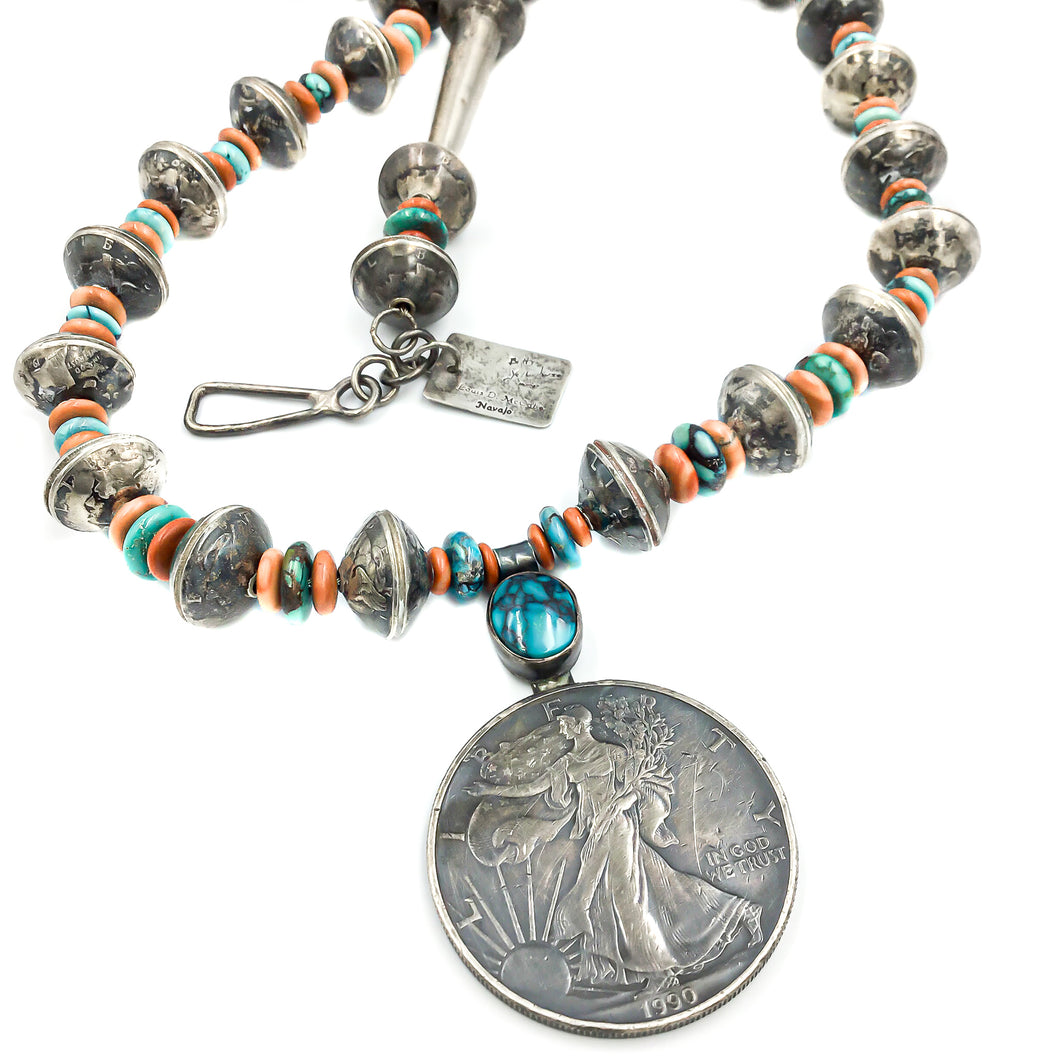 Betty Yellowhorse Navajo Sterling Native American Pendant Necklace