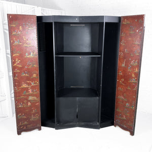 Vintage Baker Furniture Asian Faux Leather Media Cabinet