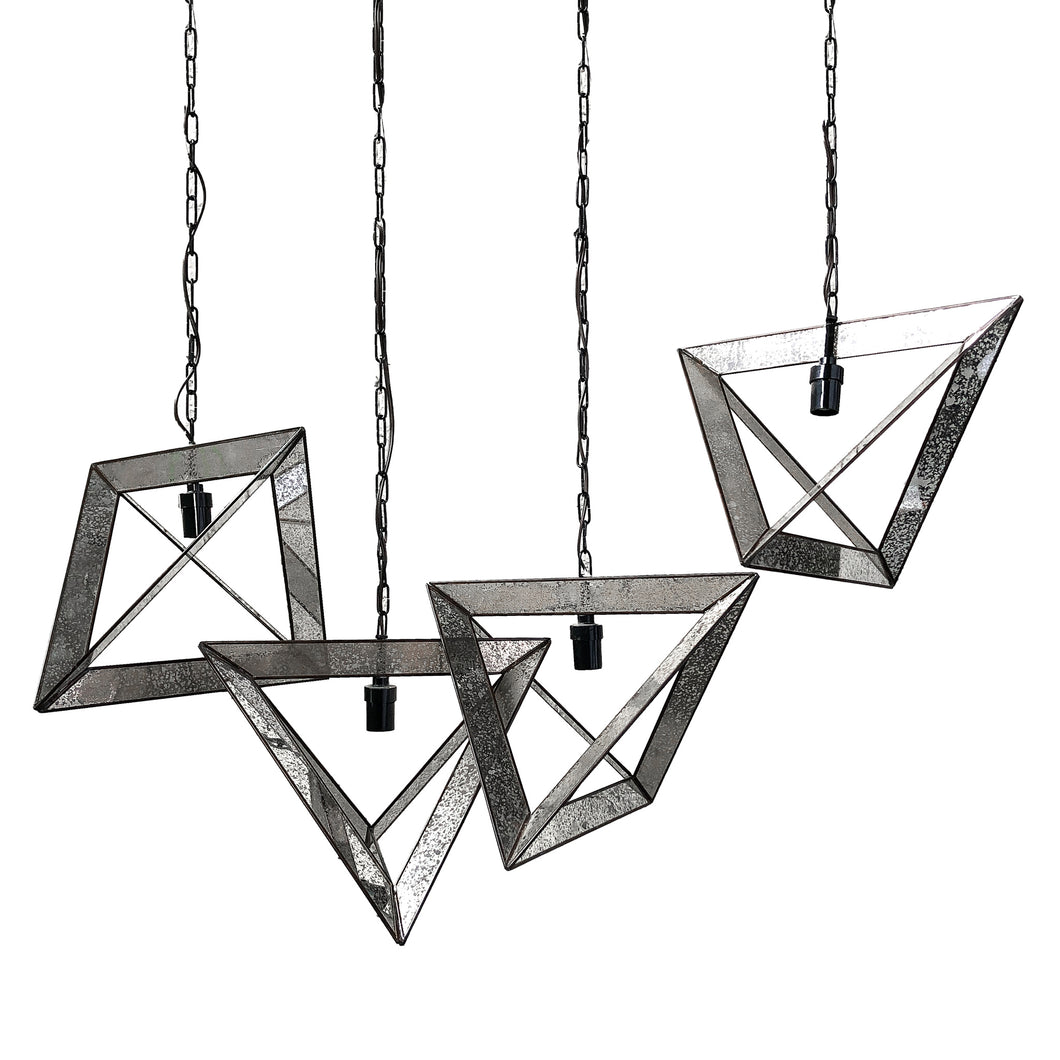 Contemporary Mirrored Exposed Bulb Pendant