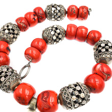 Load image into Gallery viewer, Ethnic Silver Ethiopian Coral Necklace