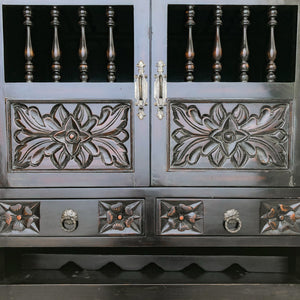 Spanish Colonial Hardwood Bar Cabinet