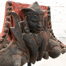 Load image into Gallery viewer, Vintage Asian Carved Painted Wood Decorative Sculpture