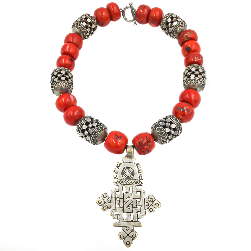 Ethnic Silver Ethiopian Coral Necklace