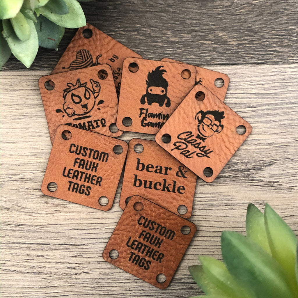 Customized Medium-Brown Faux Leather Tags for Handmade Items