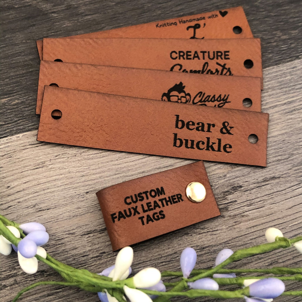 Half Fold Faux Leather Labels for Handmade Items