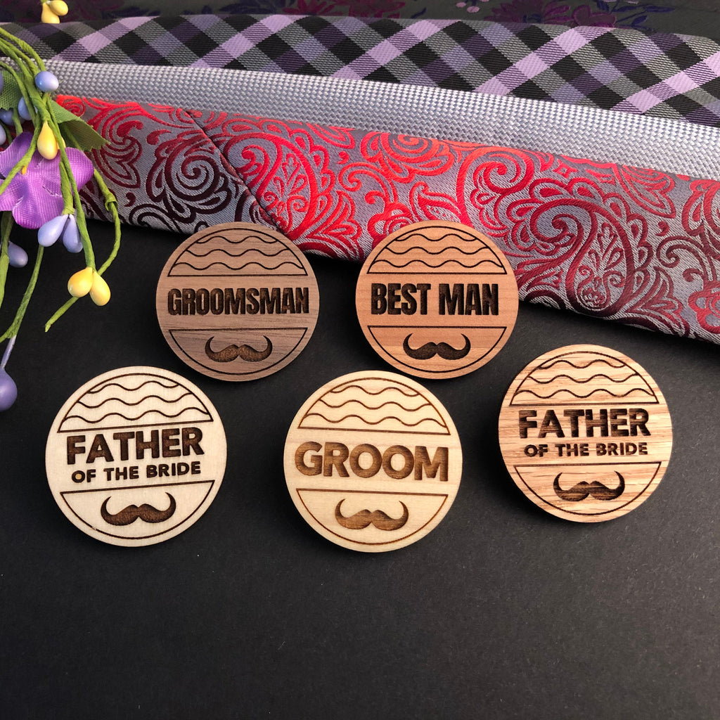Wooden Mens Wedding Boutonniere