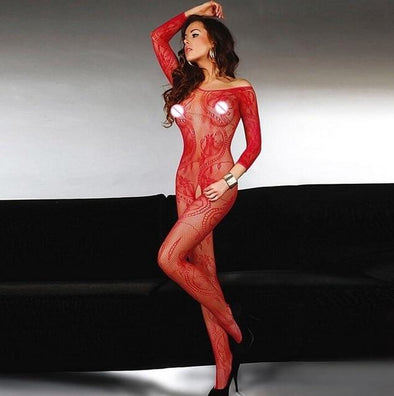 Body Up Crotchless Red Bodystocking