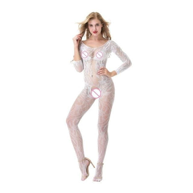 Body Up Crotchless White Bodystocking