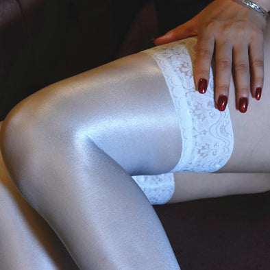 White Lace Top Thigh High Stockings