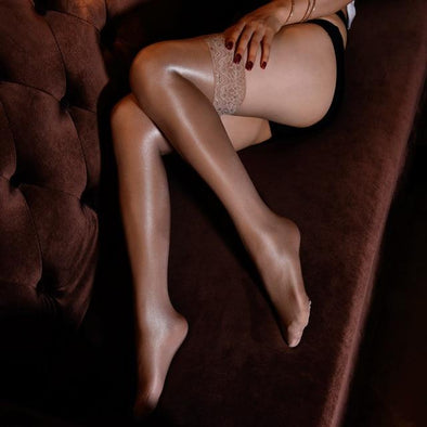 Brown Lace Top Thigh High Stockings