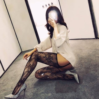 Sheer Geometric Garters with Attached Thigh Highs