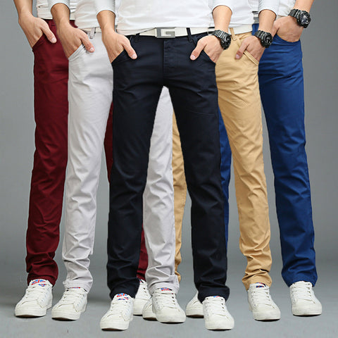 Newly Fashion Men Business Casual Pants  Solid Color Slim Straight Trousers Spring Summer Long Pants VK-ING
