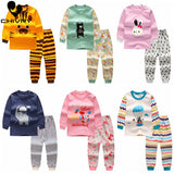Chivry Cotton Kids Boys Pajama Sets Cartoon Print Long Sleeve O-Neck Cute T-Shirt Tops with Pants Baby Girls Child Clothes