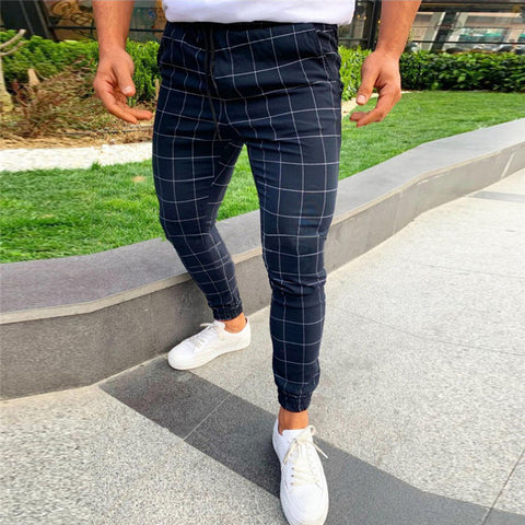 Mens Fashion Pants Men Streetwear Hip Hop Pants Skinny Chinos Plaid Trousers Slim Fit Casual Pants Joggers