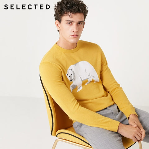 SELECTED Men's Wool-blend Pullovers Animal Pattern Round Neckline Long-sleeved Knitted Sweater S | 418424509