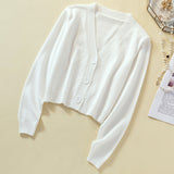 2019 Spring Knitted White Black Cardigan Women Button Up V Neck  Button Cute Kwaii Crop Sweater Knitting Top Streetwear