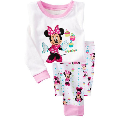 Minnie Cartoon Baby Girl Clothing Sets Cute Printing Long Sleeve T shirt + Casual Pant 2PCS Pajama Sets Kids Girl Sleepwear