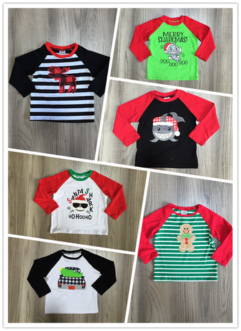 baby boys christmas raglans children kids top shirts boys shark tee truck tee elk tee doll tee baby boutique clothes wholesale