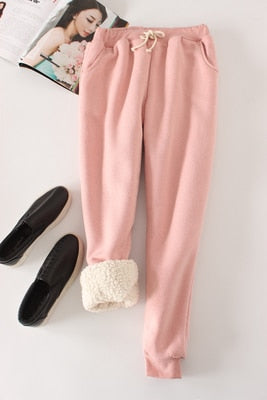 Women Pant Winter Thick Lambskin Cashmere Pants Warm Female Casual Pants Loose Harlan Pants Long Trousers Plus Size Xl  YP1254